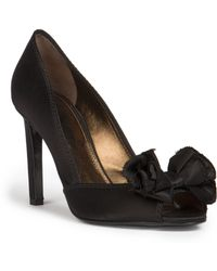 Lanvin Satin Peep-Toe Pumps - Lyst