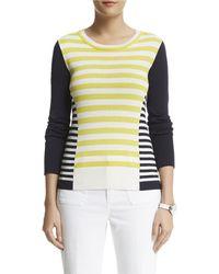 Anne Klein Yellow Striped Pullover - Lyst
