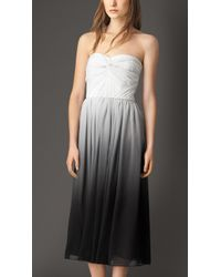 Burberry Dégradé Silk Crepon Strapless Dress - Lyst
