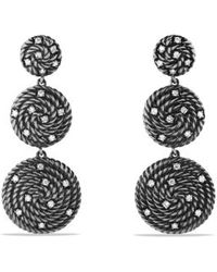 David Yurman Cable Coil Triple-drop Earrings with Diamonds - Lyst