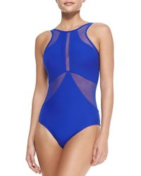 Jets by Jessika Allen High-neck One-piece Swimsuit W Mesh Inserts - Lyst
