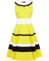 Karen Millen Bright Colour Block Striped Dress - Lyst