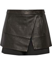 Tibi Leather and Gabardine Shorts - Lyst