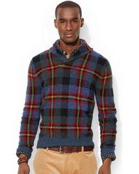 Polo Ralph Lauren Plaid Shawl Sweater - Lyst