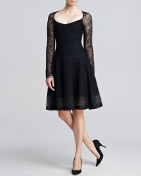 Zac Posen Long Sleeve Lace Jacquard Flounce Dress - Lyst