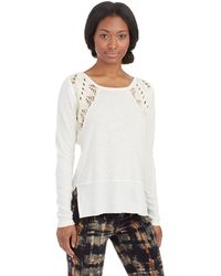 Free People Lace Up Swift Tee - Lyst