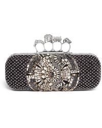 Alexander McQueen Crystal Satin Long Knuckle Box Clutch black - Lyst