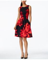 CALVIN KLEIN 205W39NYC - Seamed Side-pocket Floral Dress - Lyst