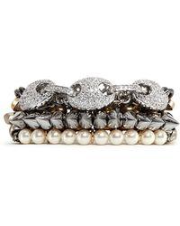 Venna   Crystal Pavé Strass Station Chain Bracelet   Lyst