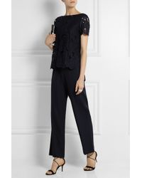 Tory Burch Avalon Guipure Lace And Stretch-Wool Jumpsuit - Lyst