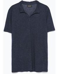 Zara V-Neck Polo Shirt blue - Lyst