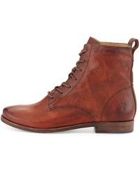 Frye Anna Lace-up Leather Short Boot - Lyst