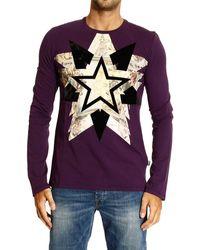 Roberto Cavalli - Just Cavalli Tshirt Long Sleeve Crewneck Flocked Star - Lyst
