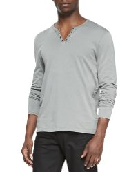 John Varvatos Long Sleeve Split Neck Henley - Lyst
