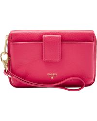 Fossil Item Leather Phone Wristlet pink - Lyst