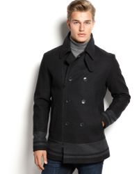 Calvin Klein Color Block Pea Coat - Lyst