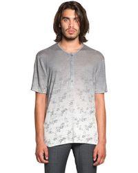 John Varvatos Linen Jersey Henley T-Shirt - Lyst