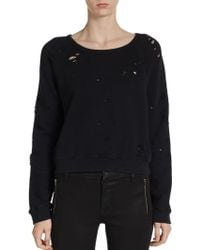 Textile Elizabeth And James Distressed French-terry Sweatshirt - Lyst