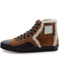 Balenciaga Shearling Fur-Lined Suede High-Top Sneaker brown - Lyst