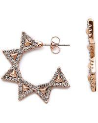 House Of Harlow 1960 Geodesic Triangle Mini Hoop Earrings - Rose Gold - Lyst