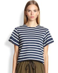 Adam Lippes Striped Back-Split Top - Lyst