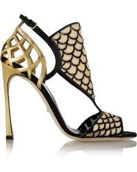 Sergio Rossi Metallic Patent-leather and Mesh Sandals - Lyst