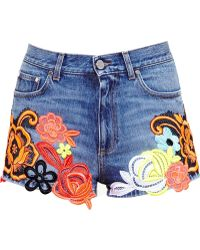Christopher Kane Lace Embroidered Denim Shorts - Lyst
