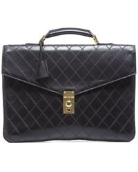 Chanel Preowned Black Leather Quilted Vintage Briefcase Bag - Lyst