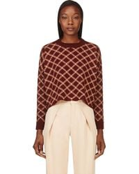 Marni Burgundy and Peach Check Knit Sweater - Lyst