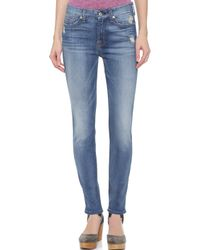 7 For All Mankind Mid Rise Skinny Jeans - Distressed Authentic Light - Lyst