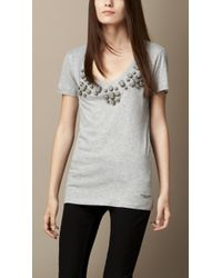 Burberry Embroidered Cotton Jersey T-Shirt - Lyst