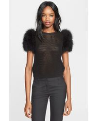 RED Valentino Crochet Knit Top With Maribou Feather Sleeves black - Lyst