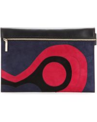 Victoria Beckham Large Zip Leather and Suede Clutch - Lyst