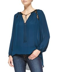 Ramy Brook Cassie Laceinset Silk Top - Lyst