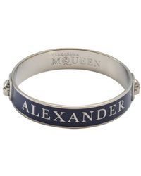 Alexander McQueen Midnight Blue and Silver Enamel Logo Skull Bangle - Lyst