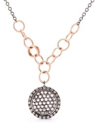 Roberto Marroni - 18kt Oxidized White Gold Necklace With Light Brown And White Diamonds - Lyst