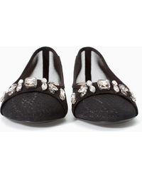 Zara Black Jewelled Ballerina - Lyst