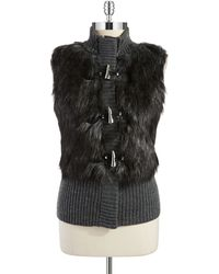 MICHAEL Michael Kors Faux Fur Toggle Vest - Lyst
