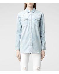 AllSaints Oversized Denim Shirt - Lyst