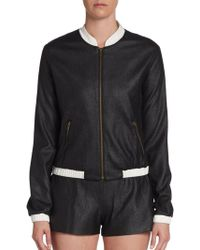 Georgie Perforated Faux Leather Bomber Jacket - Lyst