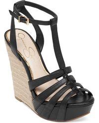 Jessica Simpson Bristol T-Strap Espadrille Platform Wedge Sandals - Lyst