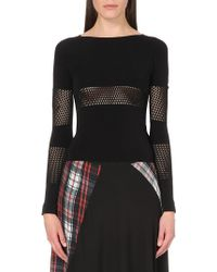 McQ by Alexander McQueen Mesh-Panel Stretch-Jersey Top - For Women black - Lyst