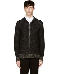 Marc Jacobs Black and Ecru Marled Knit Zip_up Hoodie - Lyst