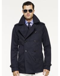Ralph Lauren Black Label Twill Pea Coat - Lyst