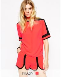 American Retro - Orange James Short Sleeve Top With Contrast Black Yoke - Lyst