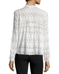 Rebecca Taylor | Long-sleeve Fil Coupe Silk-blend Top | Lyst