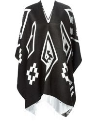 Marcelo Burlon Graphic Print Fringed Poncho - Lyst