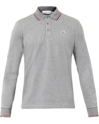 Moncler Logobadge Longsleeved Polo Shirt - Lyst