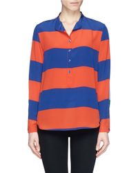 Stella McCartney 'Eva' Stripe Silk Blouse multicolor - Lyst