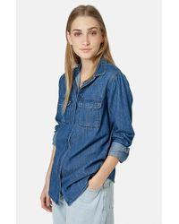 Topshop Women'S Denim Utility Shirt - Lyst